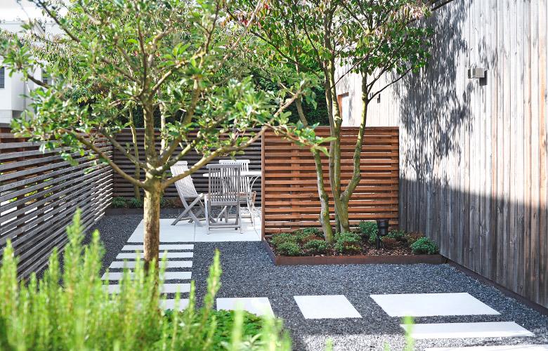 Geometrischer Garten mit Kies und Steinplatten, dazu Holzpanelle als Sichtschutz.